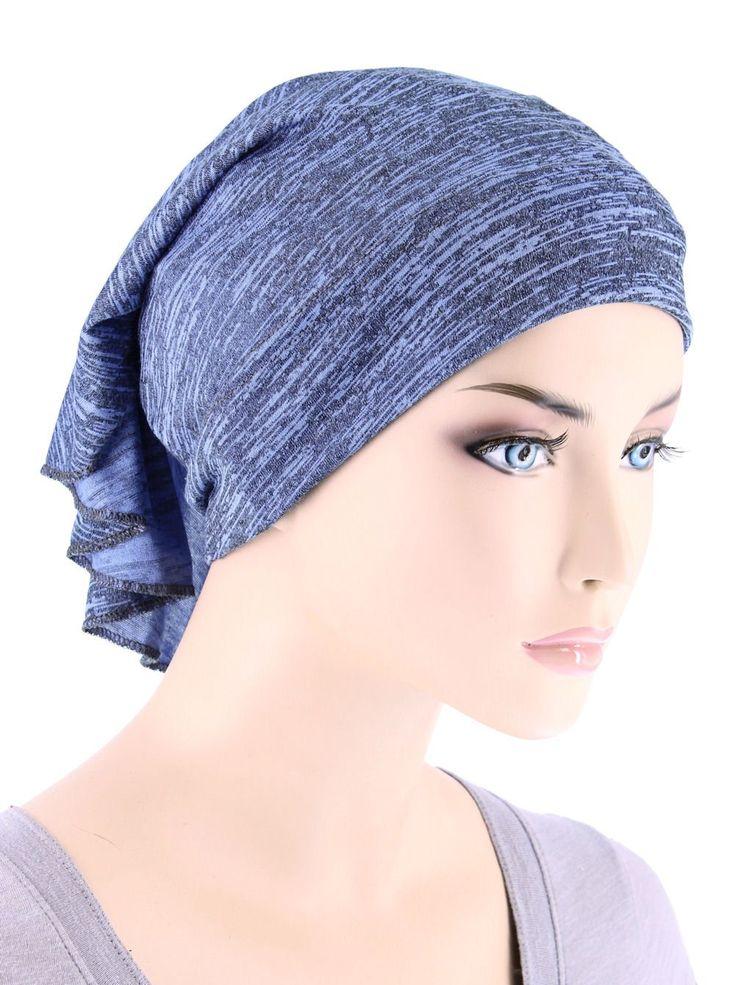 Womens Ruffle Chemo Hat Beanie Scarf, Turban Head Wrap for Cancer Heather Blue