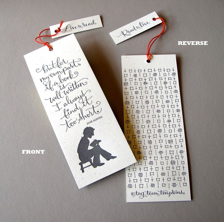 LETTERPRESS BOOKMARK - But for my own part, if a book is well written... Jane Austen.  via Etsy.