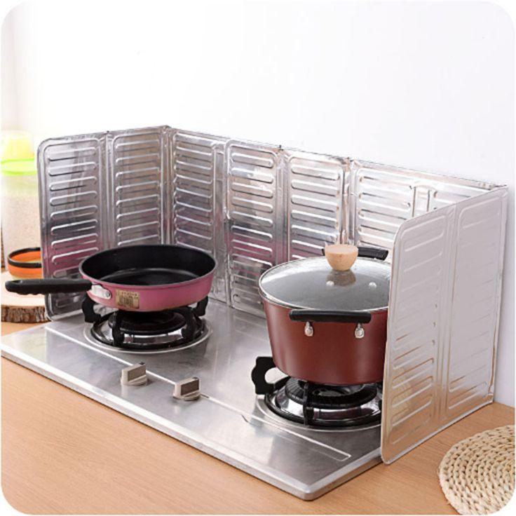 Kitchen Oil Aluminium Foil Plate Gas Stove Oil Splatter Screens Cooking Insulate Splash Proof Baffle Plate Kitchen Tools JD141