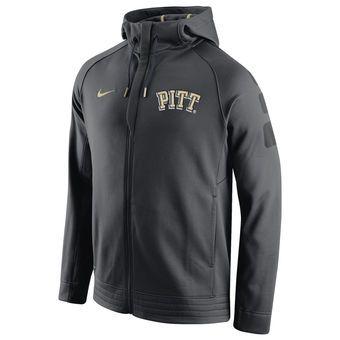 Nike Pitt Panthers Anthracite Basketball Elite Stripe Performance Full-Zip Hoodie