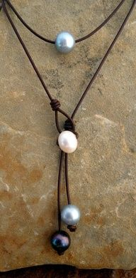 leather and pearl necklace: Wendys Pearls, Seaside, FL