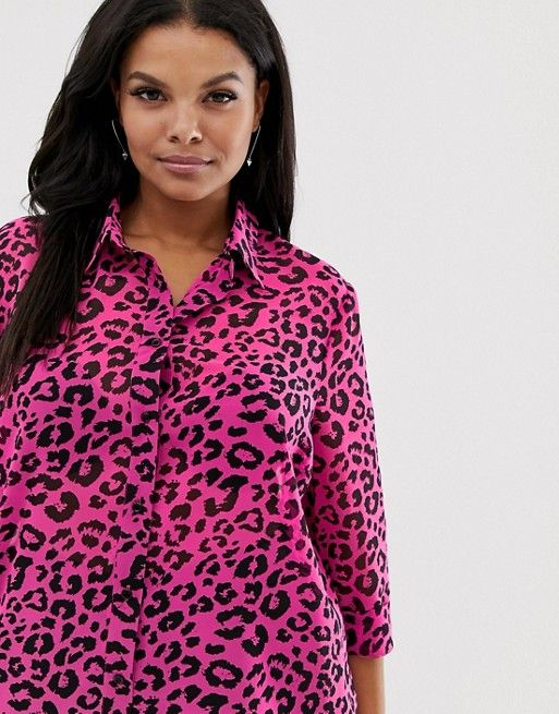 2080b8bae1b65 DESIGN Curve sheer shirt in neon leopard animal print in 2019