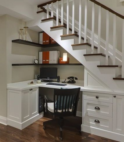 Oh, now that is a great idea. The problem with having a staircase in a tiny house is that it effectively makes the central space seem smaller, but if it, instead, creates the study . . .