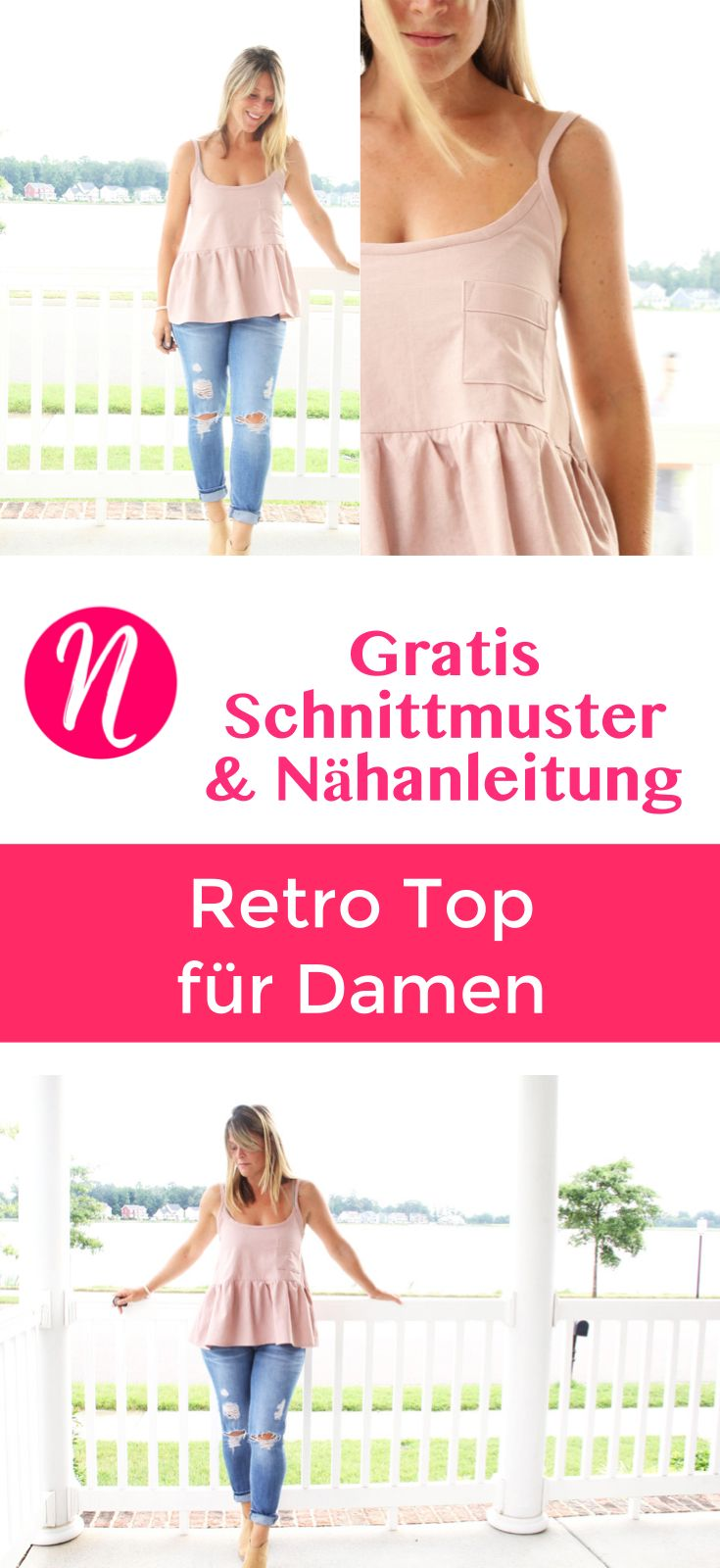Retro Tank Top für Damen mit Rüsche und Brusttasche - Gratis Schnittmuster mit Anleitung - Nähtalente - Magazin für kostenlose Schnittmuster. Lovely woman tank top with lots of charming details. Free sewing pattern & tutorial