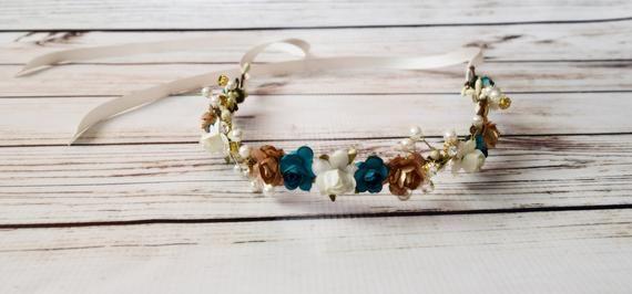 Teal Gold Ivory Flower Crown - Bridal Flower Crown - Wedding Rose Garland - Teal Bridesmaid -Gold Flower Girl Crown -Ivory Festival Headband