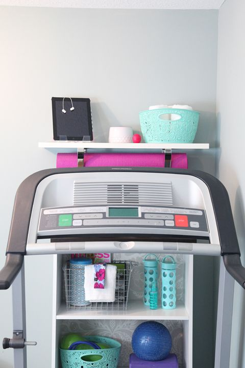 Home treadmill/exercise corner to inspire a quick workout - and looks good!
