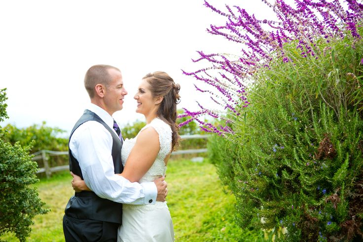 Newlyweds in the gardens of Albion River Inn.