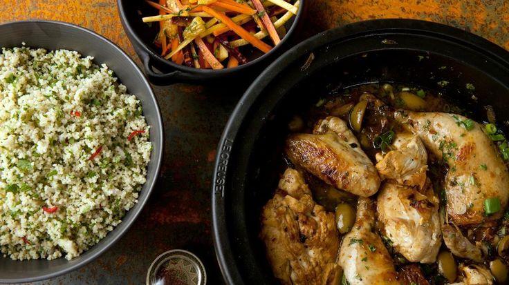 Tajine met kip, couscous en frisse wortelsalade   VTM Koken
