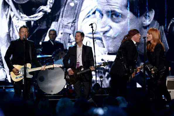Bruce Springsteen Steven Van Zandt Photos - (L-R) Bruce Springsteen and inductees Max Weinberg, Garry Tallent, Steven Van Zandt and Patti Scialfa of the E Street Band perform onstage at the 29th Annual Rock And Roll Hall Of Fame Induction Ceremony at Barclays Center of Brooklyn on April 10, 2014 in New York City. - Rock and Roll Hall of Fame Induction Show