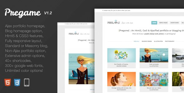 Pregame   Miss Cloe 2015  Pregame Wordpress theme is a clean, unique and fast way to share your portfolio work on the web. You can even turn this theme into a blogger style theme with the masonry homepage layout option avai...