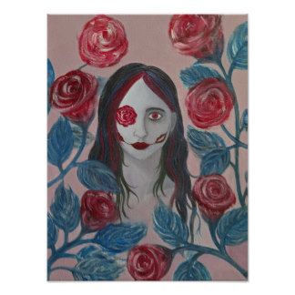"""Roses I"" painting print by Sarah Y. Varnam #art #portrait #roses #creepy #surreal #zazzle"