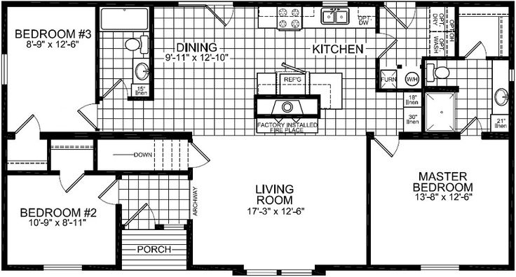 604 1 351 sq ft bedrooms 3 bathrooms 2 galley for Galley kitchen floor plans