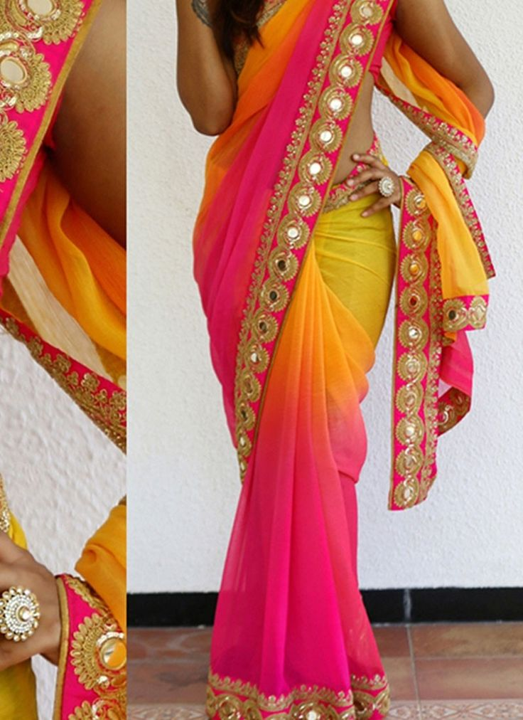 Pink Yellow 60 Gram Georgette Bollywood Saree