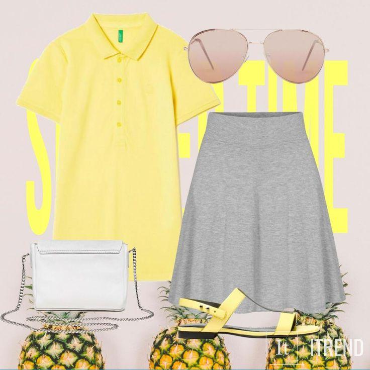 Женские футболки-поло – практичная и стильная одежда, сочетающая в себе черты актуального стиля casual и традиционного спортивного направления в моде. Яркий желтый цвет отлично сочетается с серыми вещами