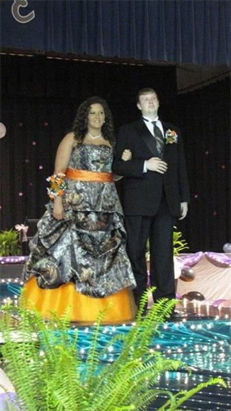 Camo and Orange wedding dress????  Hunter or Huntress. Where's his camo?