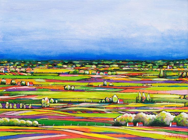 """""""QUILTED LANDSCAPE 04"""" by LOUISE GROVE WIECHERS. Paintings for Sale. Bluethumb - Online Art Gallery"""