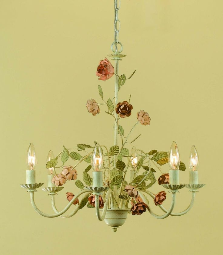 7 best flower chandeliers images on pinterest chandelier lighting room 33 rose 6 light chandelier hand painted with cream finish mozeypictures Images