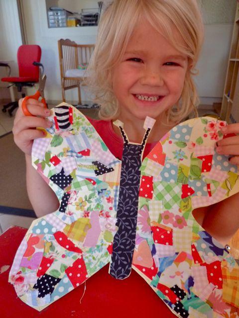 Scrappy tips - craft a butterfly schmetterling stoffreste kinder