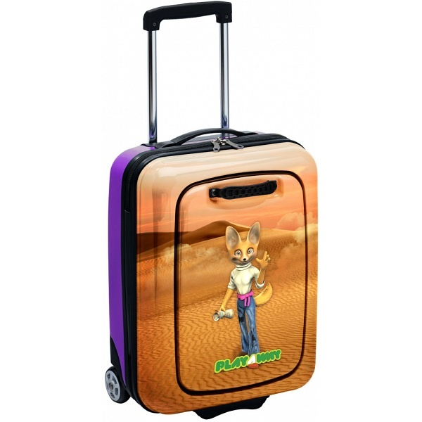 Eva Dee the Fennec Fox PlayAway Case with Removable PlayPod / Childrens Luggage Suitcase PLA106 - £99.99 available from www.kubi.co.uk - The perfect solution to keeping children and kids entertained on long journeys and holidays.  The PlayAway suitcase features an excellent removable PlayPod with hidden board game and storage space.
