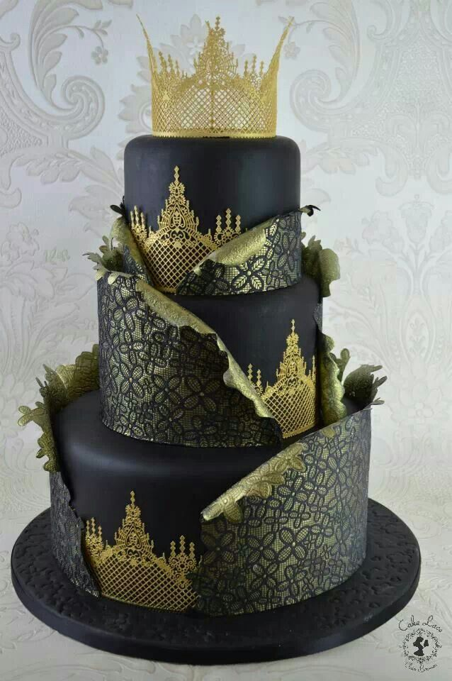 ~ Black and Gold Tiered Cake ~ dont knw who produced this but really lovely, would love to know how.