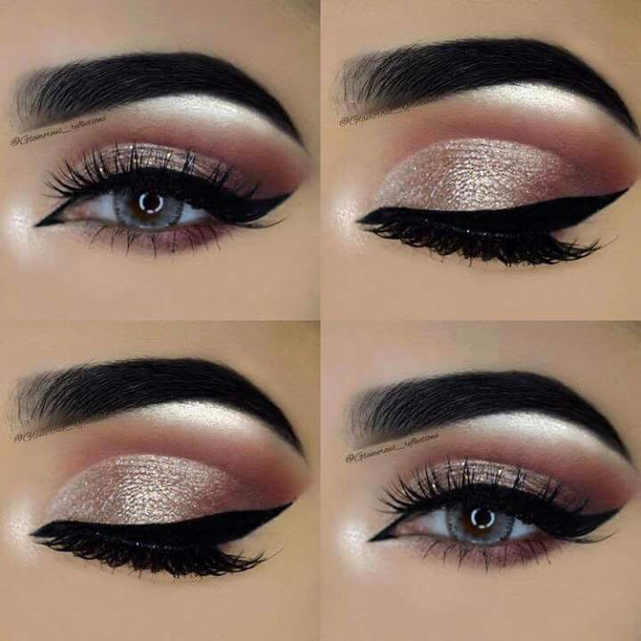 Gorgeous eye makeup looks, pink crease, silvery eye