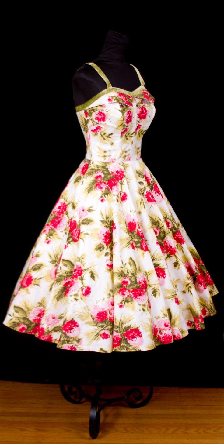 1950's Dress // Bright Floral Full Skirt Sundress by GarbOhVintage