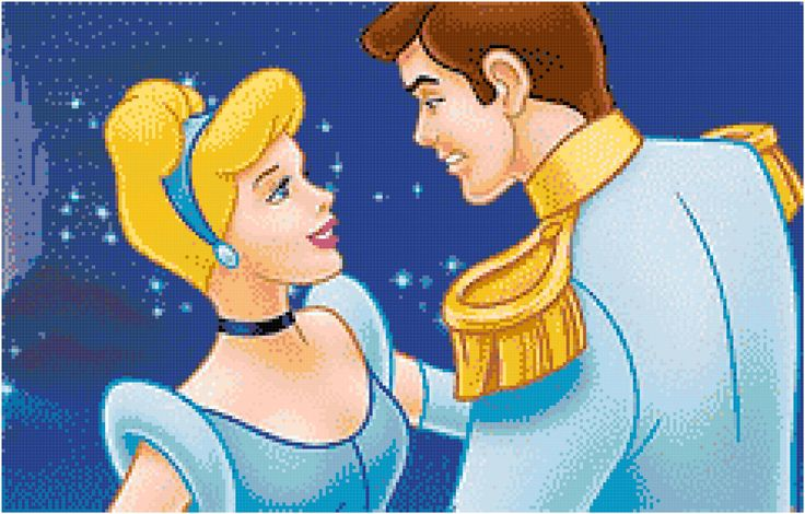 Cinderella & Prince Charming 14 Count Cross Stitch Chart / Kit by BluebellThreads on Etsy