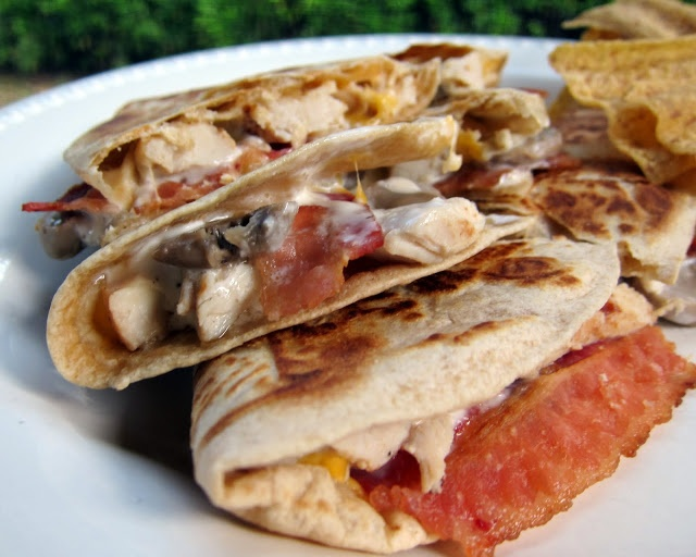 Chicken Bacon Ranch Quesadilla   Plain Chicken - minus the mushrooms, I am all about this one!