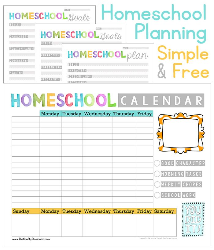 Free Homeschool Planing Pack. Goals, Plans, Weekly ...