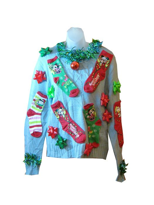 Hey, there's an old tale that nobody likes to get socks for Christmas, but you can't complain if you get them by way of this awesome ugly Christmas sweater from our Custom Creations line.