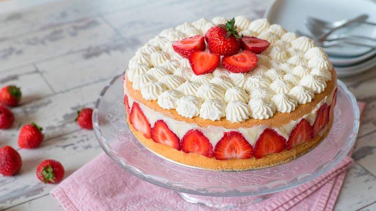 Cómo hacer una torta fraisier (Postre francés con frutillas y crema past...