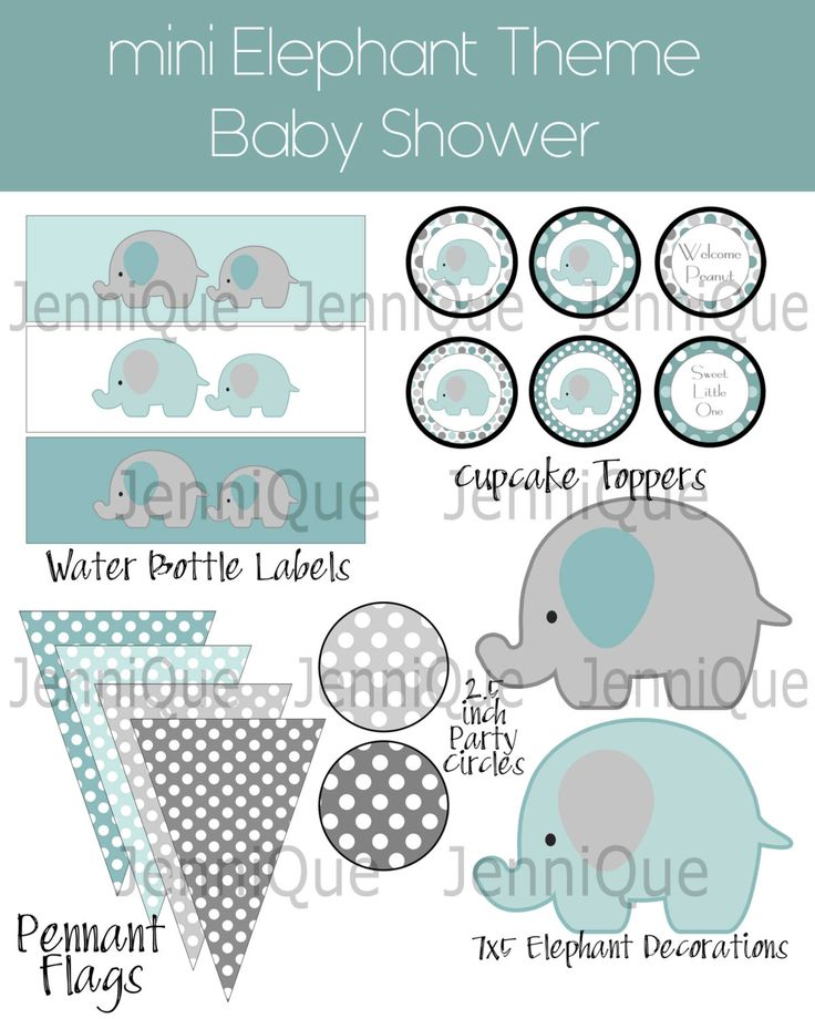 Printable mini Elephant Theme Gender Neutral Baby Shower Kit, Green and Gray Baby Shower, Boy or Girl Baby Shower Idea, Party Printables by JenniQuePrintShop on Etsy https://www.etsy.com/listing/237961837/printable-mini-elephant-theme-gender