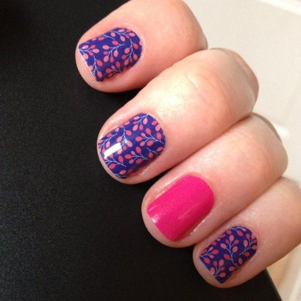 Budding Cobalt nail wraps by Jamberry Nails awesome nails!!! I am an Independent Jamberry Nails Consultant @ http://www.dezlovesjam.jamberrynails.net
