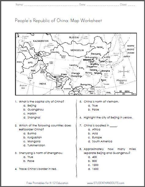 China - Free Printable Map Worksheet for Grades 4-6. CCSS ...