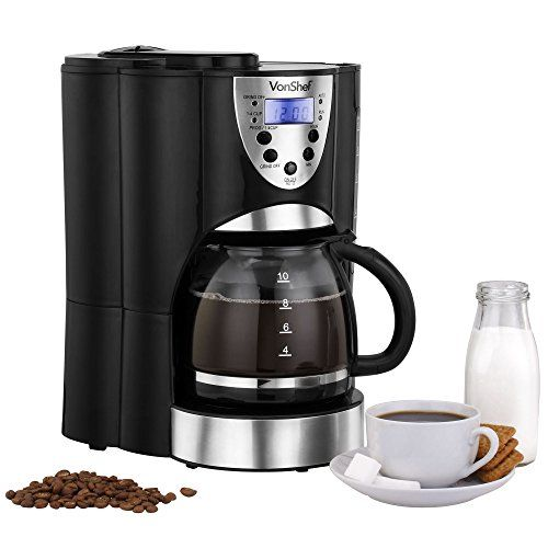 VonShef Digital Filter Coffee Maker with Integrated Grinder and Reusable Filter, 1000W, Programmable, 10 to 12 Cup, Free 2 Year Warranty