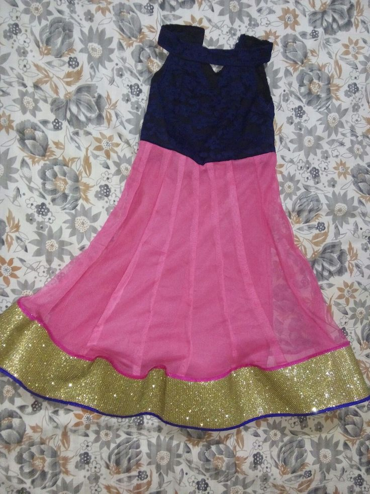 Front side: Blue and pink anarkali frock for children