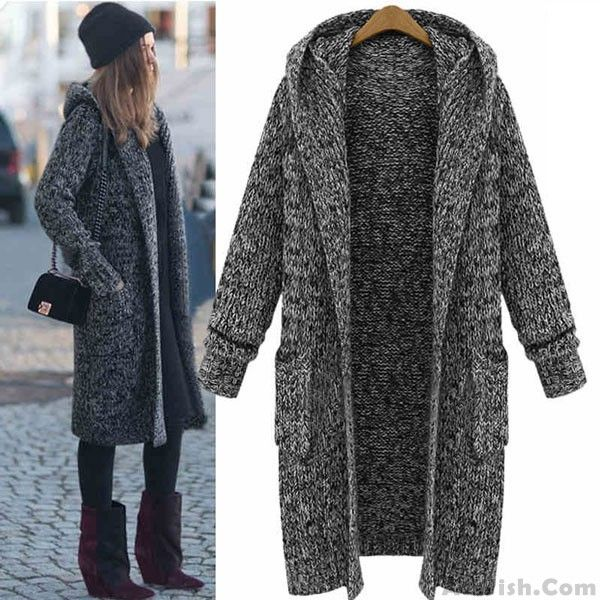 Wow~ Awesome Hooded Lapel Knit Long Cardigan Sweater Coat ! It only $58.99 at…
