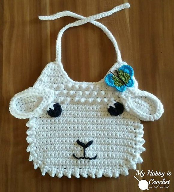 Little Lamb Baby Bib - Free crochet pattern