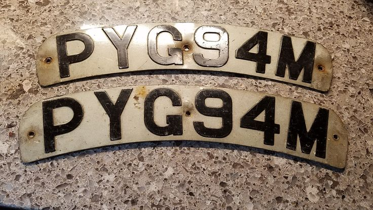 Vintage pair of European license plates from Leeds, England.