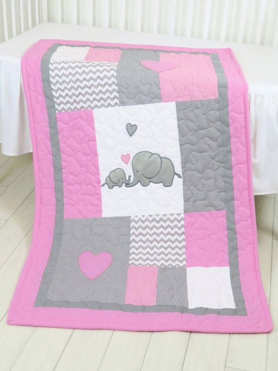 Elephant  Baby Blanket Elephant Quilt Blanket by Customquiltsbyeva