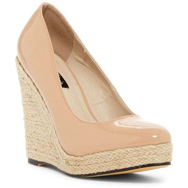 Michael Antonio Anabel Platform Wedge Pump ($37) ❤ liked on Polyvore featuring shoes, pumps, nude, espadrille wedge pump, wedges shoes, patent leather pumps, platform shoes and platform pumps