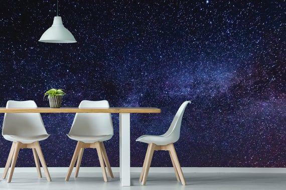 Dark Space Wallpaper With Stars Self Adhesive Peel And Stick Wall Mural Wallpaper Walls Decor Flat Paint Wallpaper