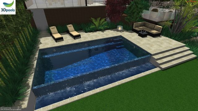 Modern family pool with swim out ledge & wet edge spillover. Buy this pool design and many more stylish designs at www.3d-pools.com.au