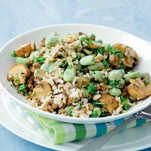 Recept - Rijst met tofugehakt en paddestoelen - Allerhande