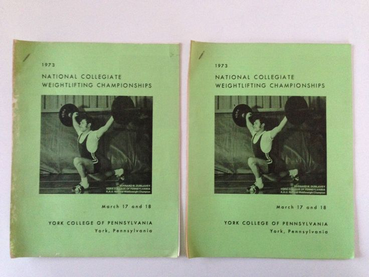 Lot of 2 1973 National Collegiate Weightlifting Championships York College PA