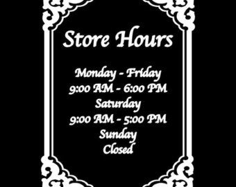 Store hours sign custom window decal by DubbyaDecals on Etsy