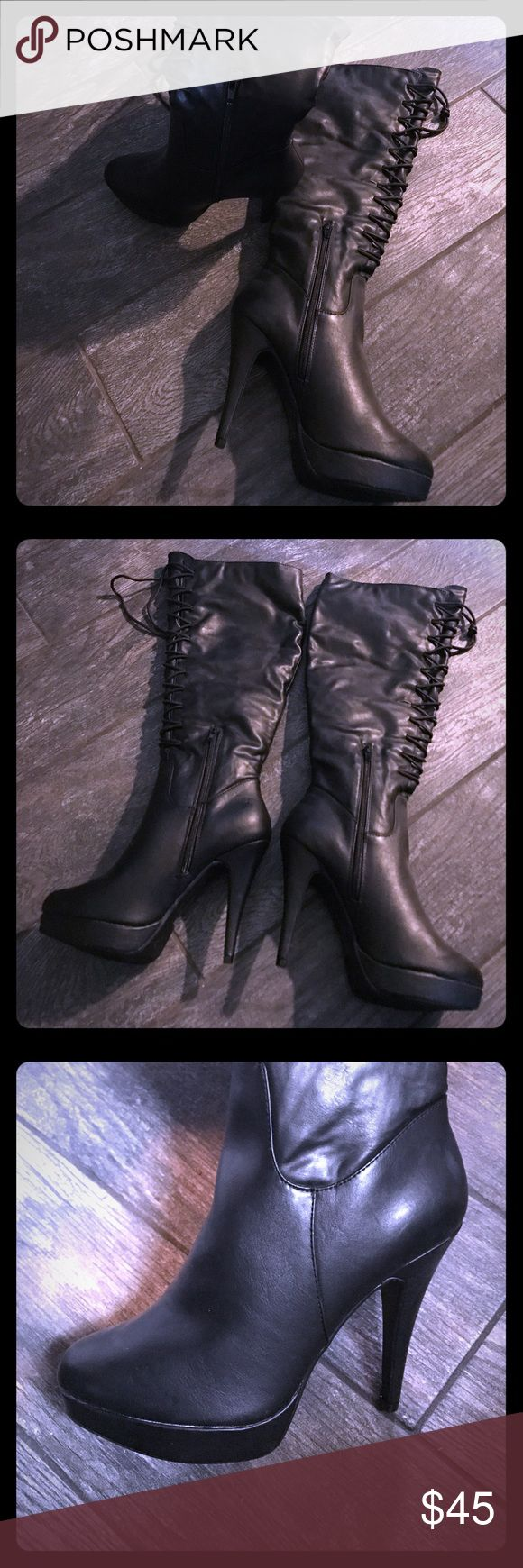 NWOT NEVER WORN Shoe Dazzle lace-up boots Size 8.5 SEXY lace- up boot heels from Shoe Dazzle. Has a platform lift Size 8.5 Shoe Dazzle Shoes Heeled Boots