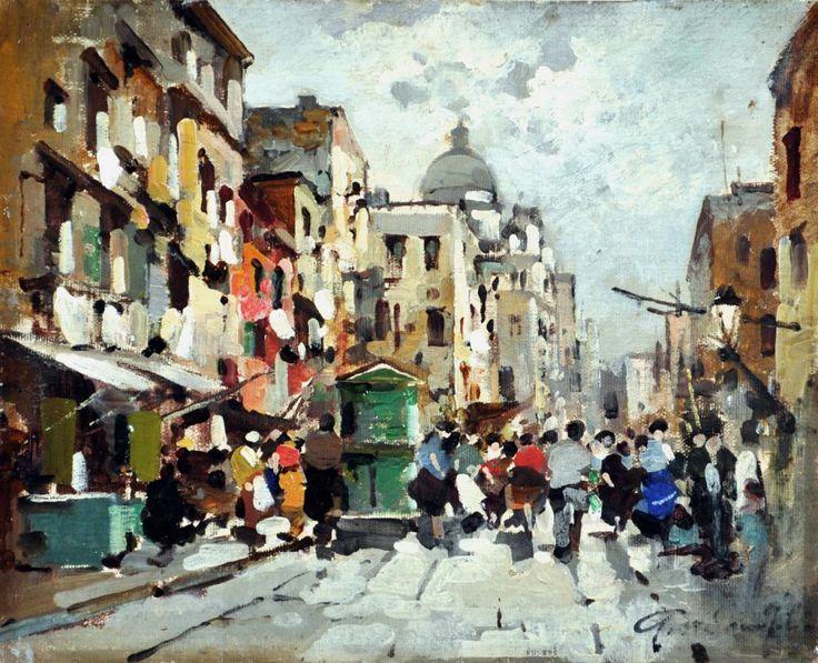 Giordano Felice (Napoli 1880 - Capri 1964) Borgo S.Antonio Abate olio su tela rip su cartone cm 20x24,5