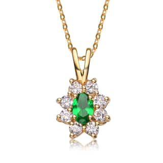 Collete Z Cubic Zirconia Sterling Silver Gold Plated Emerald Flower Shape Drop Pendant