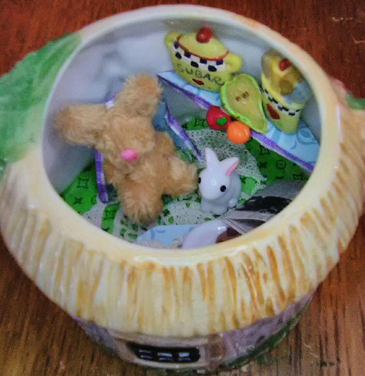 Bunny Rabbit Miniature House in a Teapot Diorama Dollshouse Doll Dolls FREE GIFT by TeenyTinyPocketWorld on Etsy
